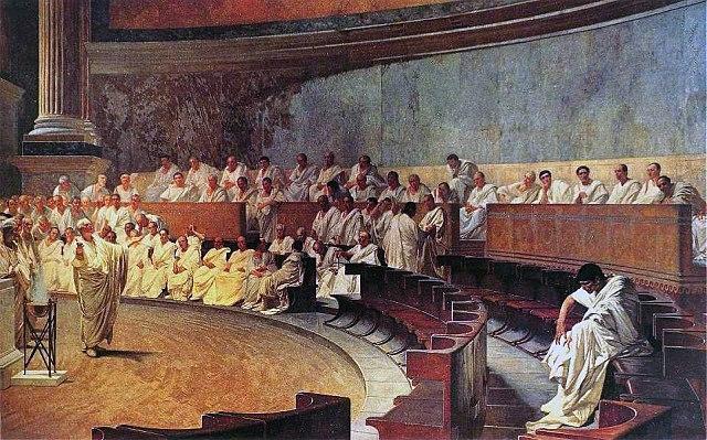 "Cesare Maccari, ""Cicerone denuncia Catilina"", via Wikimedia Commons"