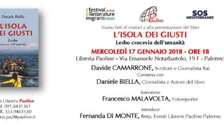 """17/01/18 – Presentazione con Davide Camarrone """"L'Isola dei Giusti – Lesbo crocevia dell'umanità"""""""
