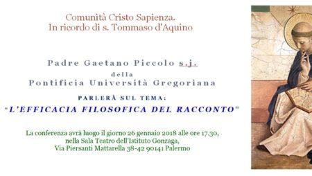 """26/01/18 – Conferenza """"L'efficacia filosofica del racconto"""" – in ricordo di S.Tommaso d'Aquino"""