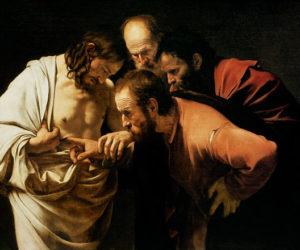 Incredulità di san Tommaso del Caravaggio, 1600-1601, olio su tela di 107 × 146 cm, Bildergalerie Potsdam.