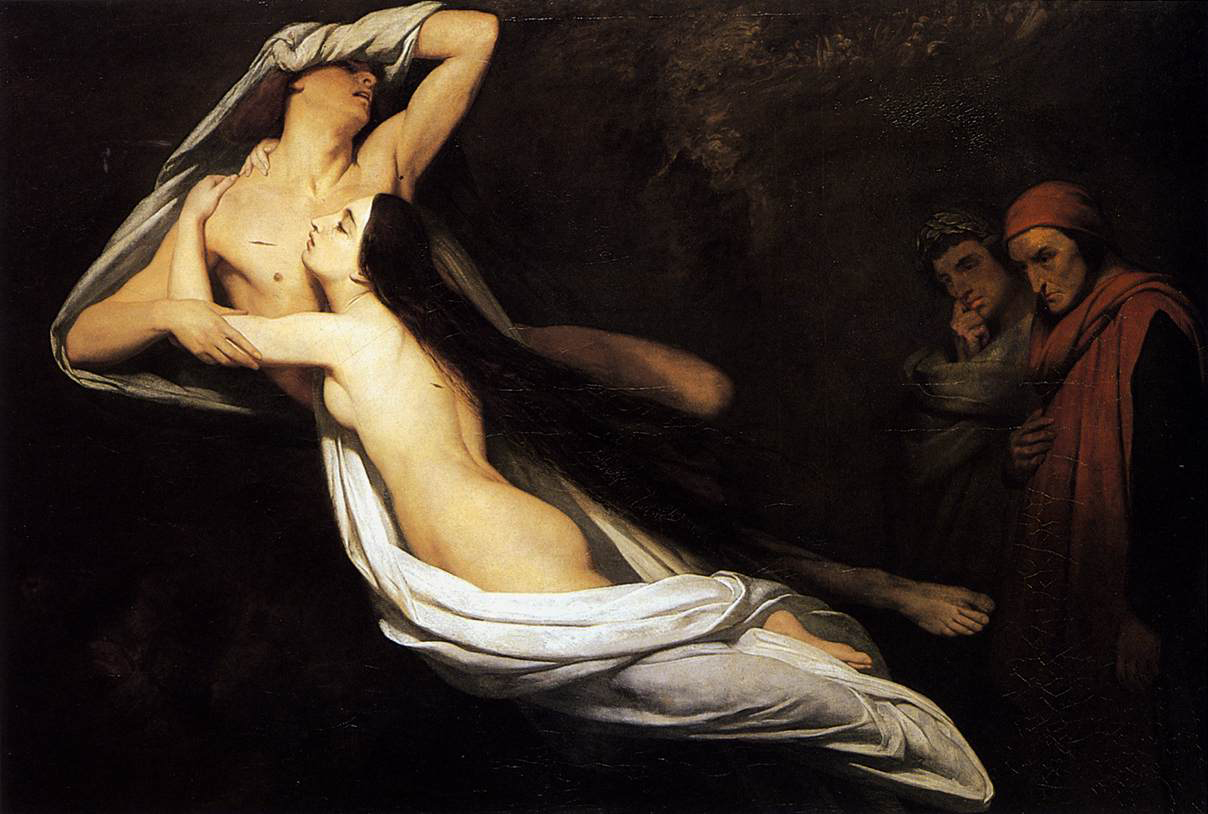 1835 Ary Scheffer The Ghosts of Paolo and Francesca Appear to Dante and Virgil