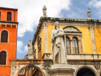 Monument of Dante Alighieri on the Piazza della Signoria in Verona Italy