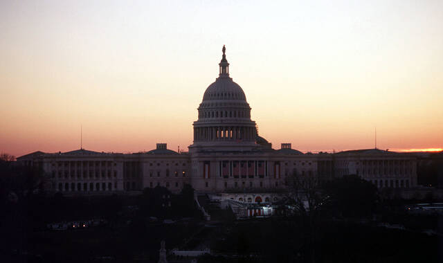A medium close up view of the US Capitol Building in Washington D.C. taken just before sunrise on inauguration day 1997.